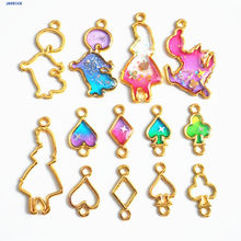 JAVRICK 10Pcs Alice Wonderland Open Metal Frame DIY Bracelet UV Resin Charm Bezel Setting(China)