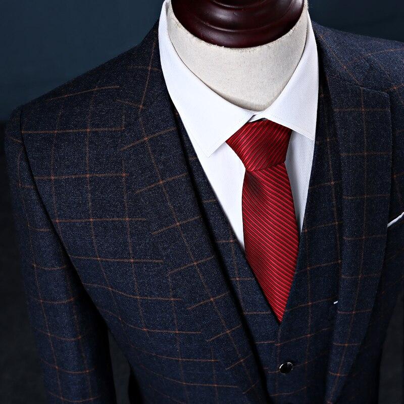 TOTURN Европа плюс Размеры мужской костюм 3 шт. свадебное платье костюм джентльмен Классическая Бизнес костюмы для торжественных случаев тонк... - 5