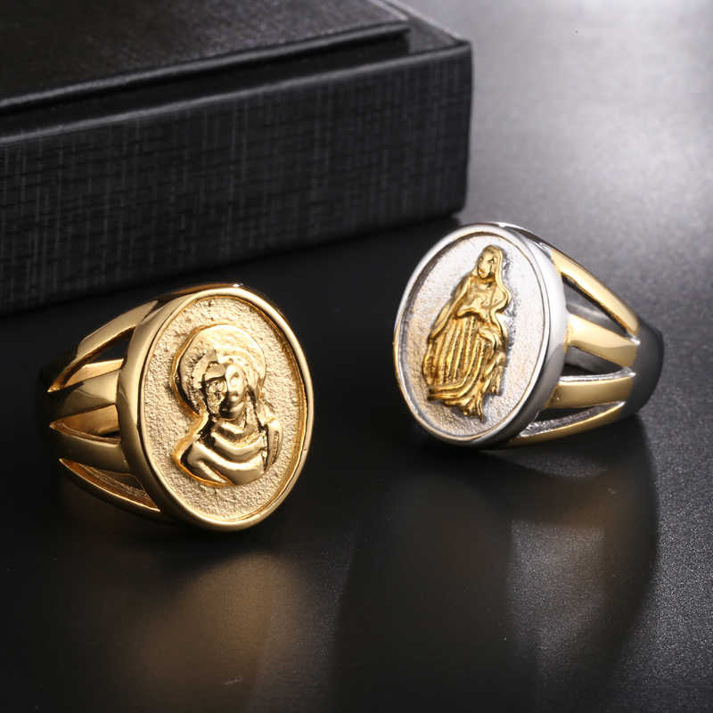 Detail Feedback Questions about D&Z Virgin Mary Ring Mens Stainless