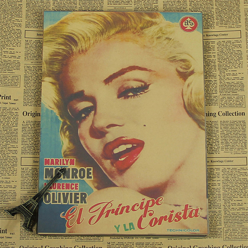 High quality vintage poster Kraft paper marilyn monroe painting wall ...