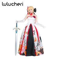Anime Fate Stay Night UBW Zero Sword Saber Cosplay Costumes White Black Red Dress Custom Made Wedding Dress Costume Full Set