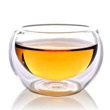 6 шт Анти-обжигающий станок с двойными стенками, Стекло 50 мл, прозрачный стеклянный двойной-Слои чайный набор с чашками жар-устойчивая изоляция кунг-фу Чай чашки
