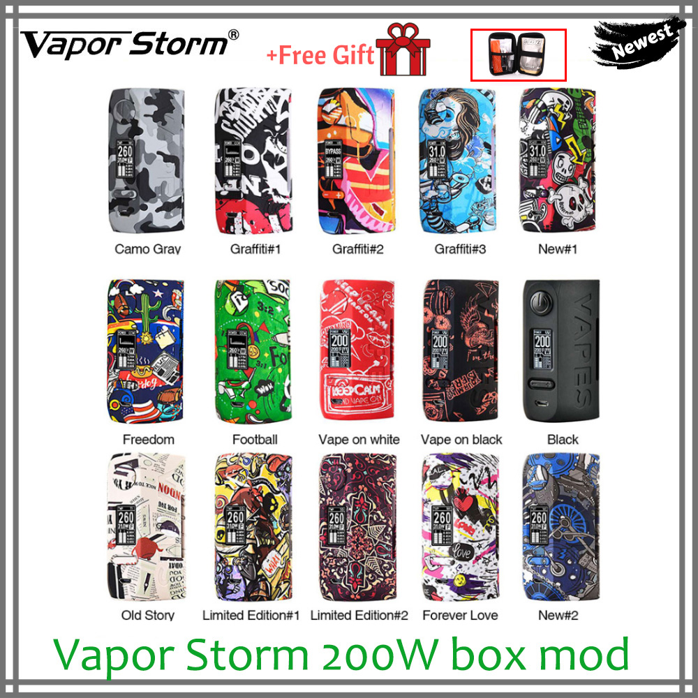 FREE GIFT Original Vapor Storm 200W box mod Puma 200W NI TI SS316 TCR mode electronic