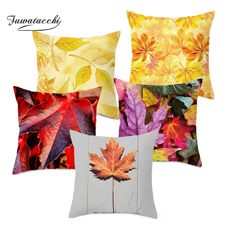 Practical Happy Fall Maple Pillow Case Throw Cushion Cover Room Decor 18x18 inch