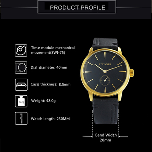 Image 2 - WINNER Official Fashion Casual Mechanical Watch Men Leather Strap Ultra Thin Dial Concise Golden Mens Watches Top Brand Luxury