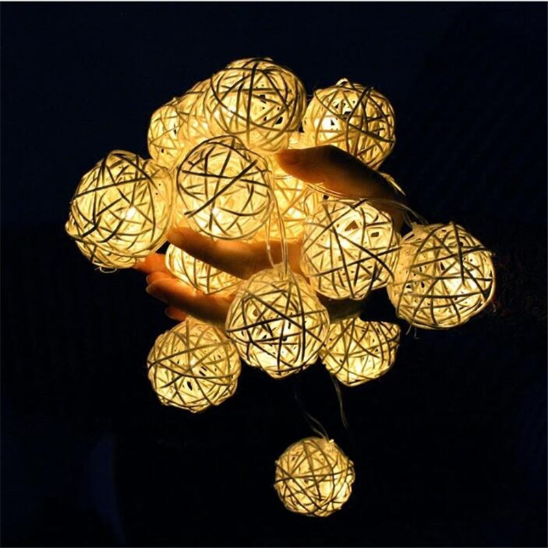 5M 28Led Rattan Ball Lights Morocco String Lights Fairy Lamp Thai Garden Party Wedding Home Decor Holiday Lighting