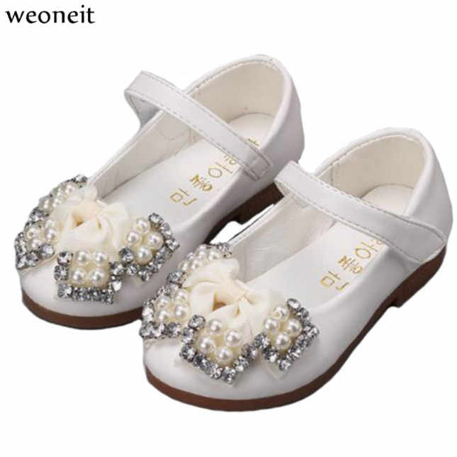 Weoneit Girls Princess Shoes White Pink Rose Red Leather Girls Kids Shoes  for Dance Party Princess 9e1cd063471b