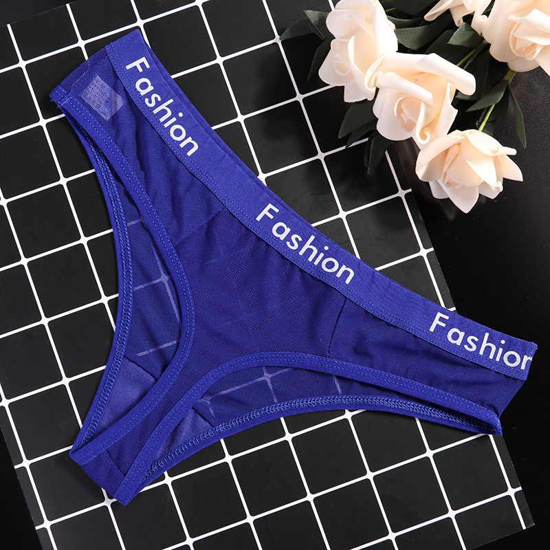 Owinąć konstrukcja seksowne panie bawełniane siatki przeźroczyste majtki stringi stringi bielizna moda niski wzrost kobiety bielizna majtki 1/2 sztuk