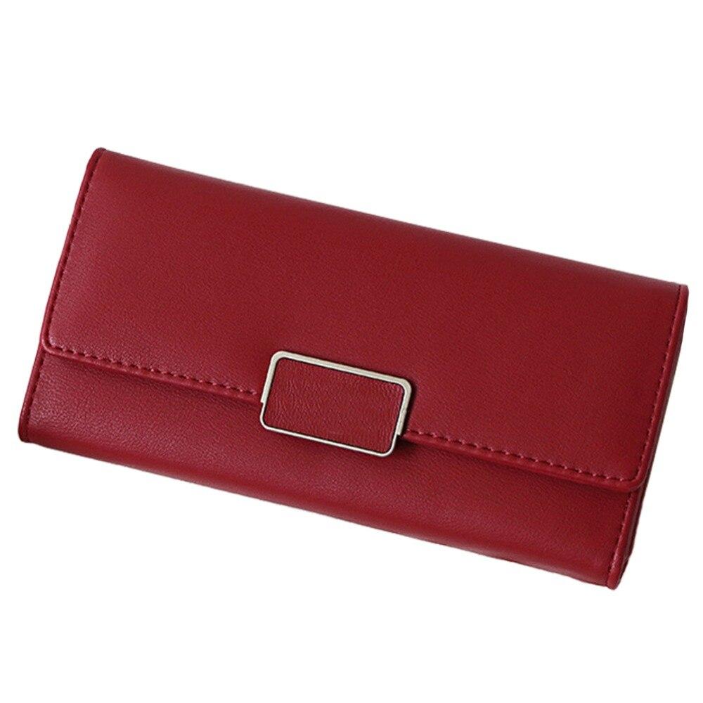 Artmi Lady Leather RFID Blocking Wallet Card Holder HandbagLong Buckle Cash Wallet with ID Window