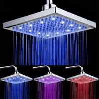 Luxury Bathroom 8 Square LED Rain Shower Head Top Three Color Change