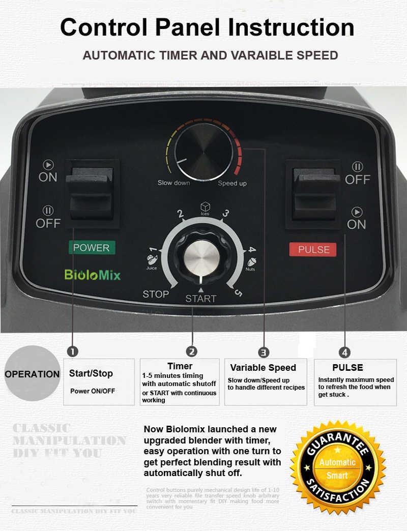 Profissional 3HP Temporizador Automático Misturador Liquidificador Processador de Alimentos Espremedor de Frutas Gelo Smoothies Fabricante 2L BPA Jar Livre 2200 W