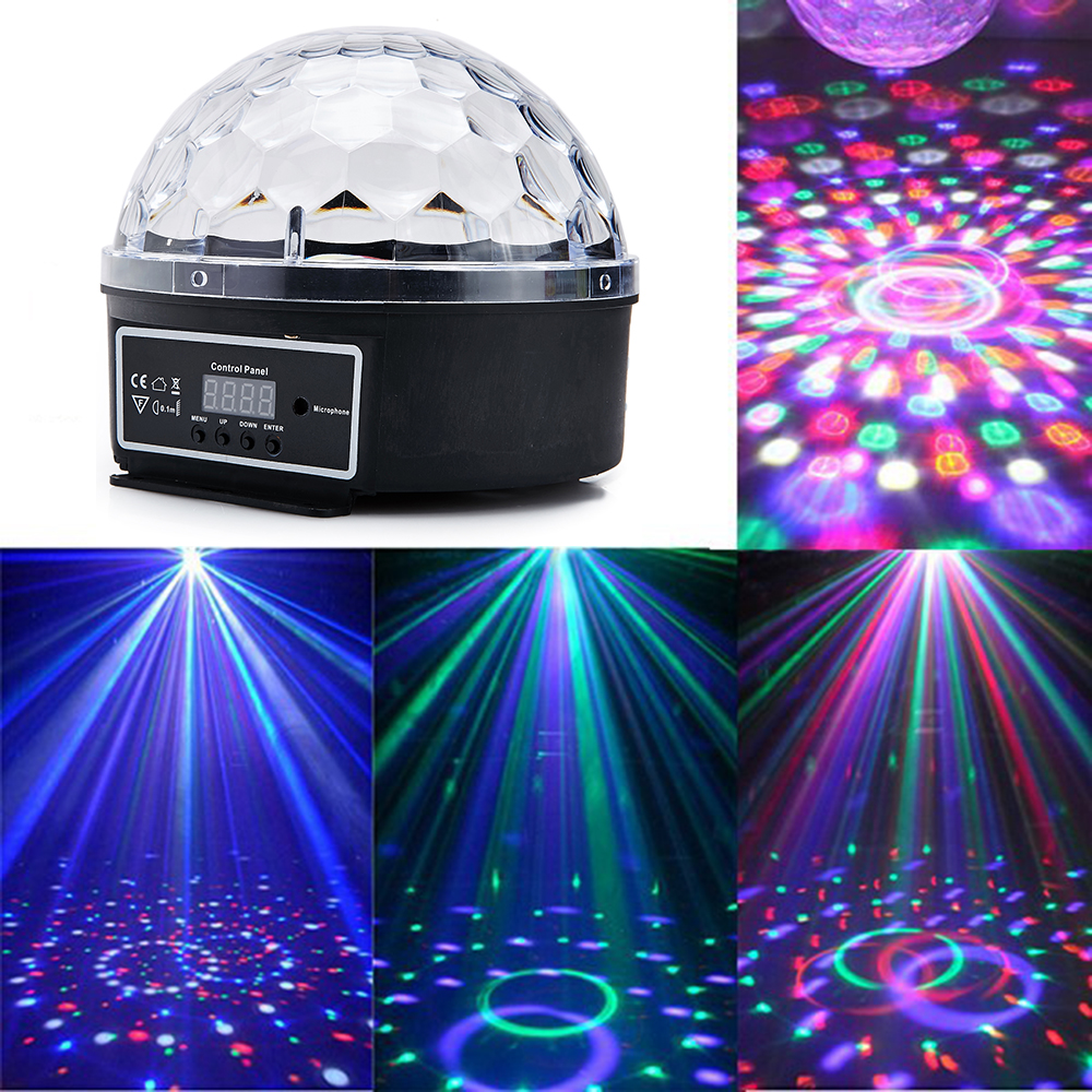 Sound Control Disco Ball DMX512 LED Crystal Magic Rotating Ball Stage Lighting Lamp Bulb Party Disco Club DJ Lightstage Light