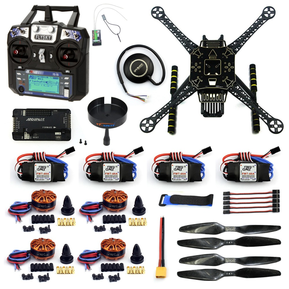 DIY RC Drone 4 Axle FPV S600 Frame Kit with APM 2.8 No Compass Flysky FS-i6 6CH Transmitter 700KV Motor 40A ESC XT60 F19457-I