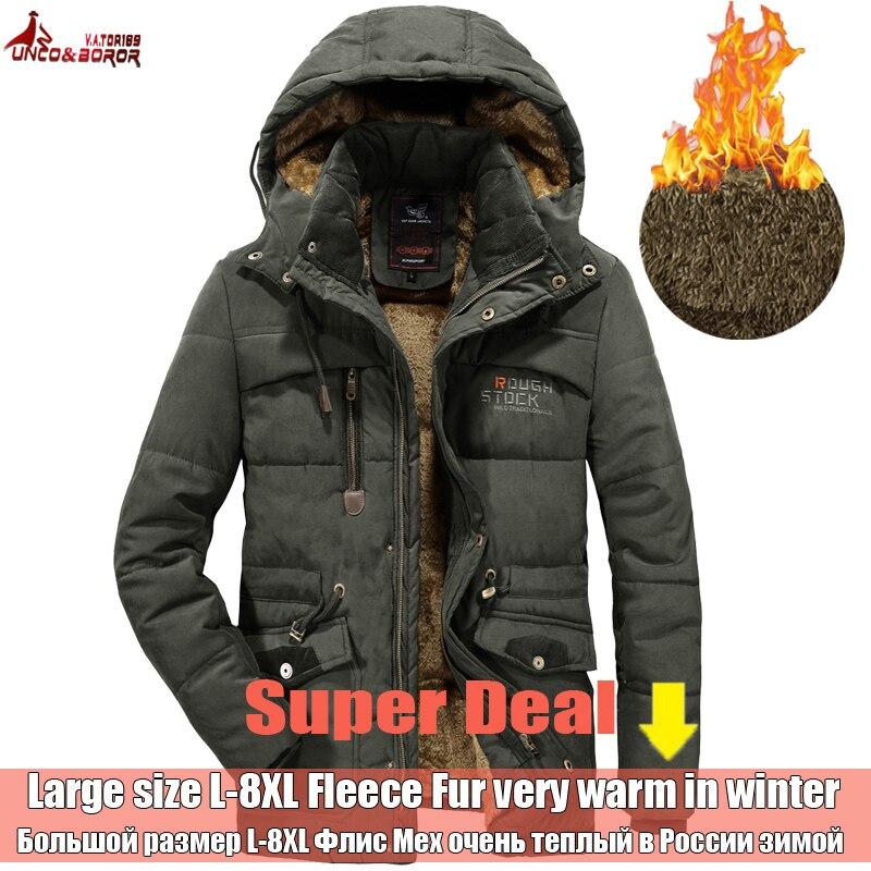 UNCO&BOROR Winter Jacket Men Outwear Breathable 7XL 8XL windbreaker male Multi-pocket parka Coat fleece military hood overcoat