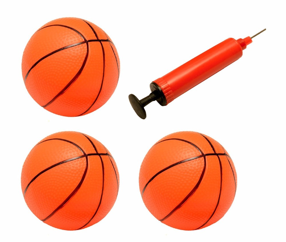 Set of 3 Inflatable Magic Shot Pro Mini Hoop Basketballs with Pump For Kids - 4 Inches in Diameter