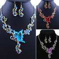 New Bride's Butterfly Flower Rhinestone Pendant Bib Statement Necklace Earrings Jewelry Set 1OFV 6OFG
