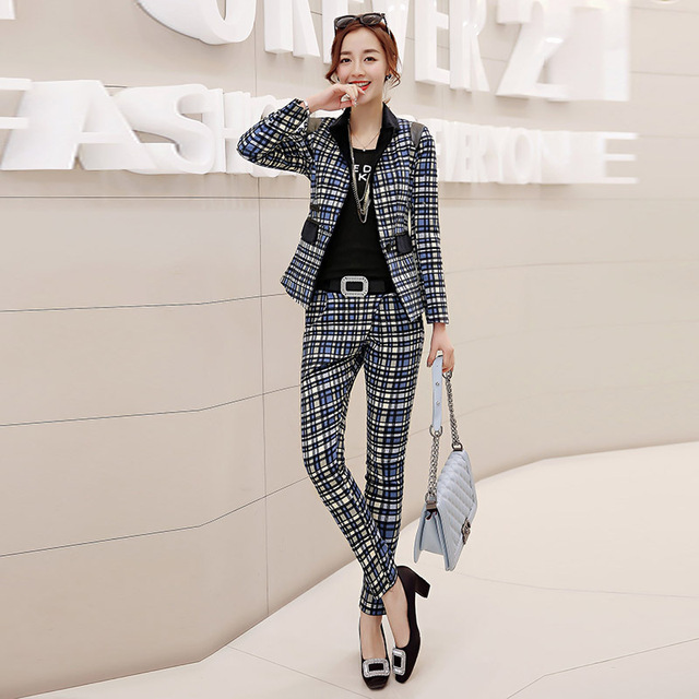 f7f69419dc3 Fall new European and American OL lattice small suit professional trousers  suit long - sleeved small