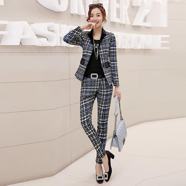 Nova queda Europeus e Americanos OL malha calças pequenas terno profissional terno longo-manga pequena terno two-piece suit YF18