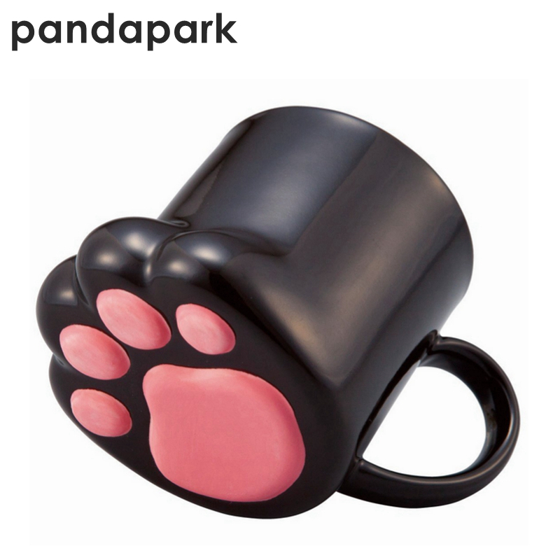 Pandapark 귀여운 크리 에이 티브 고양이 발 세라믹 성격 우유 머그잔 사무실 커피 텀블러 아침 머그잔 선물 ppx016