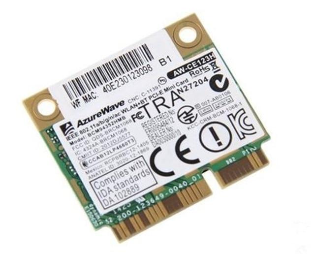 BroadCom AzureWave BCM4352 BCM94352HMB Half Mini PCIe PCI-express 802.11AC 867Mhz Wireless WIFI WLAN Bluetooth Card