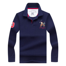 Polo Shirt Mens Brands 2018 Winter Luxury horse embroidered Breathable Camisa Masculina Soft Cotton long sleeve solid Polo Men