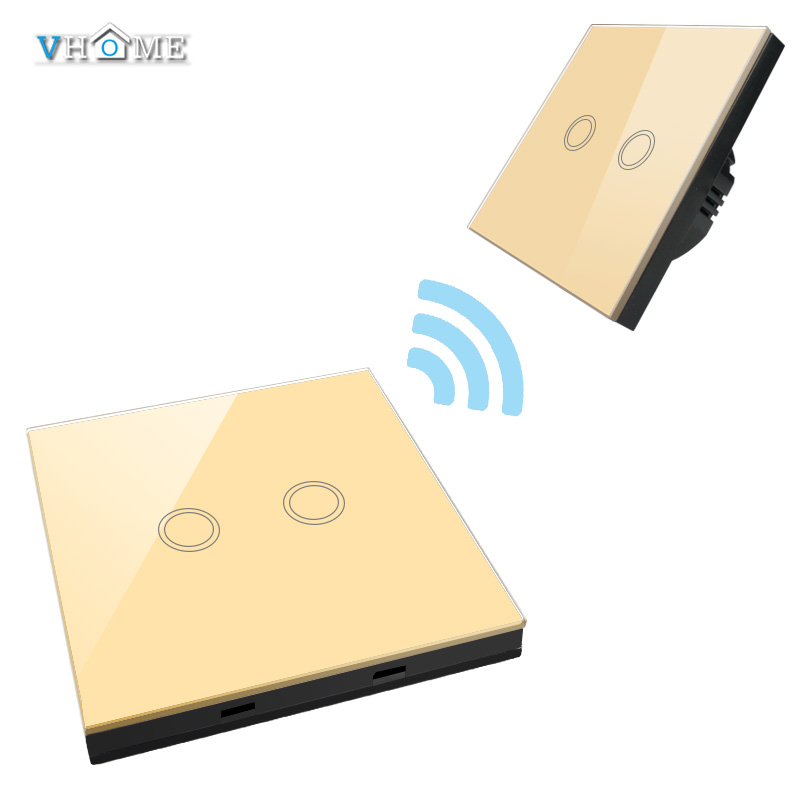 EU/UK Standrad Vhome 433 Remote Controller gold 2gang1way 220V Crystal Penal Glass Touch Lamp Wall Light switch  Home Automation vhome eu uk touch switch 3gang wall light ac170 240v wall stickers rf433mhz crystal glass panel remote control transmitter