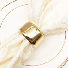 12PCS ring metal napkin golden buckle cloth towel