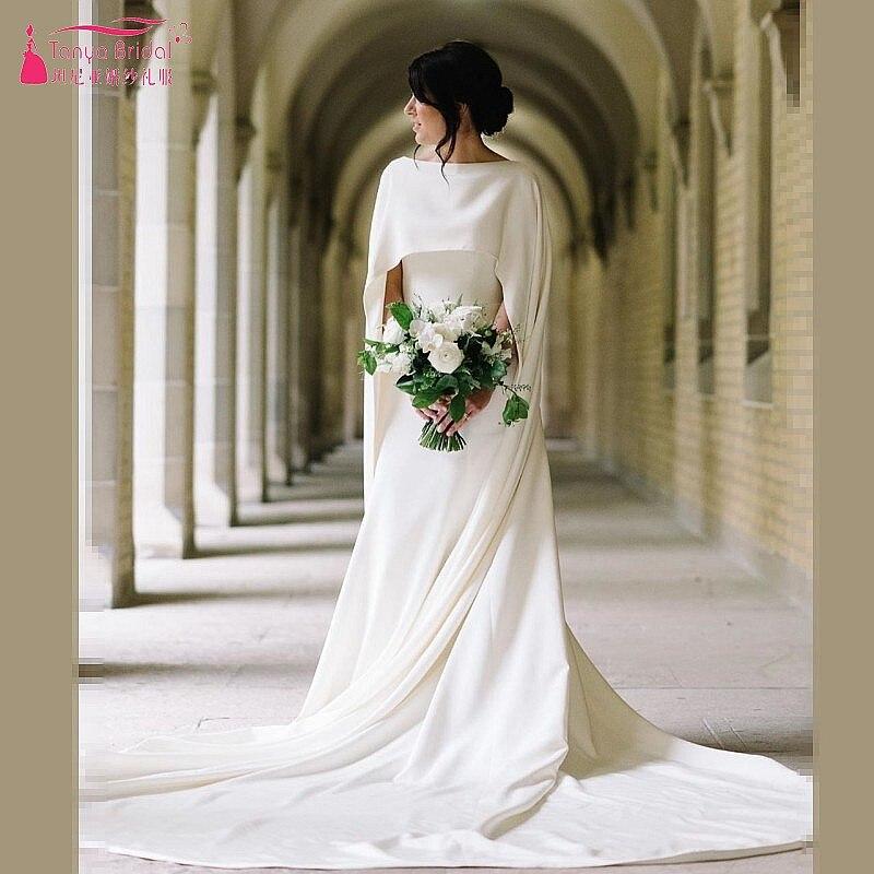 Blanc ivoire mariage enveloppes longue mariée veste robe de mariée Cape de robe Simple offre spéciale manto femmes mariage accessoire 2019 DQG948