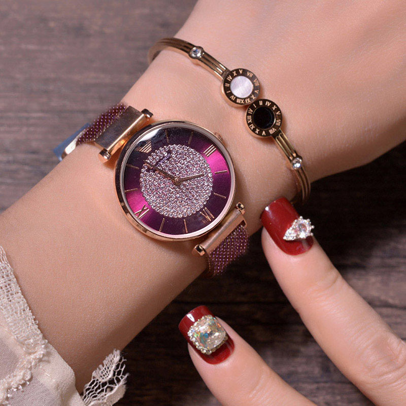 Magnetic Women Quartz Watches Ladies Wrist New Mesh Luxury Band Rhinestone Decoration Dropshipping Roman Classic Zegarek DamskiMagnetic Women Quartz Watches Ladies Wrist New Mesh Luxury Band Rhinestone Decoration Dropshipping Roman Classic Zegarek Damski
