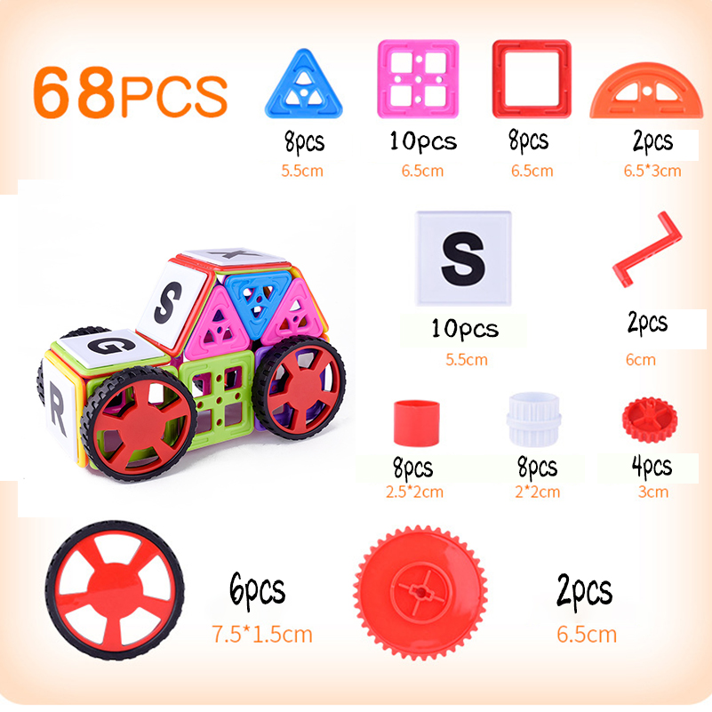 68pcs Plastic Mini Magnetic Designer Construction Set Educational Magnetic Building Blocks Toys for Children