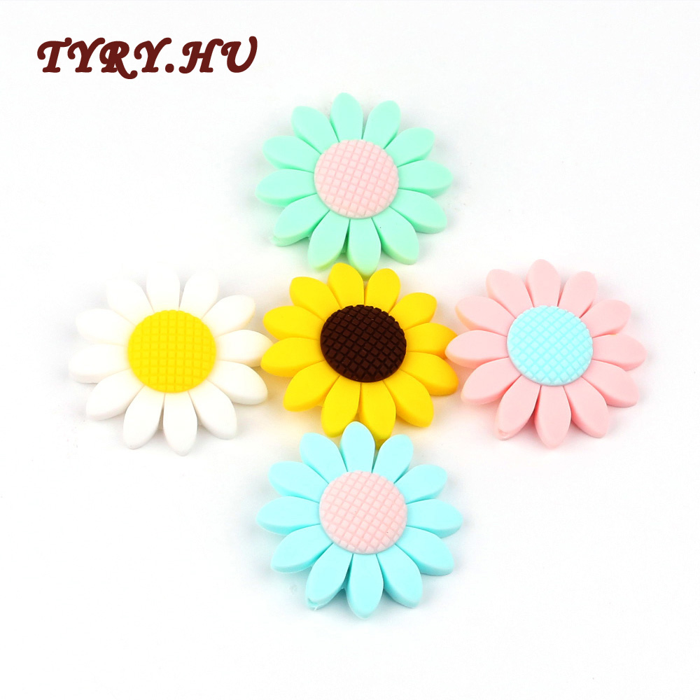 TYRY HU 100Pcs Food Grade Sunflower Silicone Beads BPA Free for Making Baby Nursing Chew Necklace