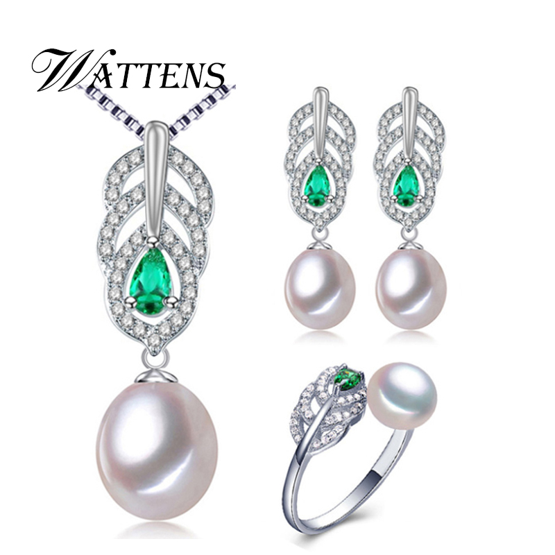 WATTENS New Pearl Jewelry Sets,AAAA Pearl Drop Pendant Necklace Earrings For Women ,engagement ring Leaves leaf big earrings set a suit of leaf faux pearl rhinestone necklace and earrings