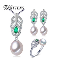 WATTENS New Trang Sức Ngọc Trai Sets, AAAA Ngọc Trai Drop Pendant Necklace Earrings Cho Phụ Nữ, engagement ring Lá leaf big earrings set