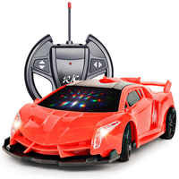 4 Channels 22cm RC Car Toy Led Light Electric Robot Sports Car Models Toys Birthday Gifts for Boys 2.4G Luxury Car