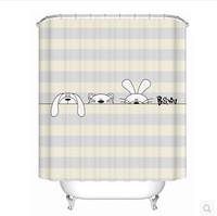 Kawaii Rabbit Animal Design Polyester Waterproof Bathroom Bath Shower Curtain Free 12 Hooks Bathroom Accessories Bath Screens