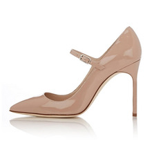 Amourplato Women's Mary Janes Pumps 10CM Stiletto High Heels Pointed Toe Patent Pumps Office Business Trip Dress Shoes 3 Colors