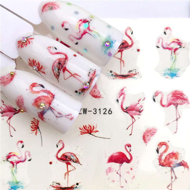 32 Designs Flamingo Fruit/Flower Series Nail Water Decals Dream ChaserPattern Tranfer Sticker  Nail Art Decoration