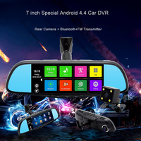New 7 Inch Dual Lens Camera Rearview Mirror Full HD 1080P Bluetooth WIFI FM Map Free