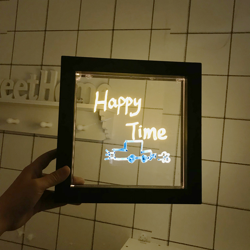 DELICORE Frame with white LED Light 3D DIY Written Acrylic light up picture frame Wall Decoration Lamp USB and Battery P001