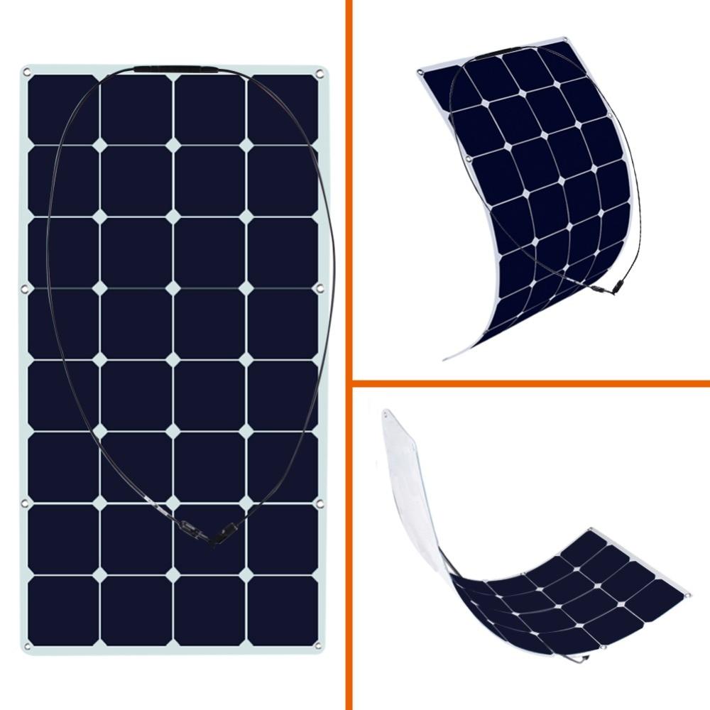 100W Solar Panal 18 Volt Monocrystalline Semi Flexible Solar Panel Bendable folding Solar panel