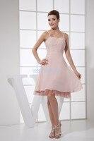 Бесплатная доставка 2015 розовый короткие платья выпускного вечера милая бисероплетение платье вечернее шифоновое платье на заказ длиной до