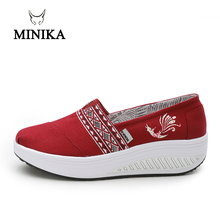 2018 HOT Summer Shoe Red Women's Sport for Women Swing Wedge platform zapatos mujer canvas trainers Minika feminino Toning Shoes стоимость