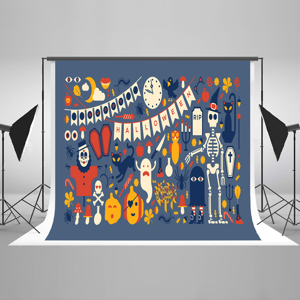 Kate Halloween Backdrop Pumpkin Bat Spider Ghost Skeleton Blue Background for Children Halloween Party Celebration Photography P blue ghost sweets candy halloween pencil from japan