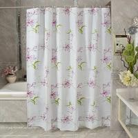 Pevaシャワーカーテン紫色のユリの花プリント防水浴室カーテンデbano入浴薄手のカーテ