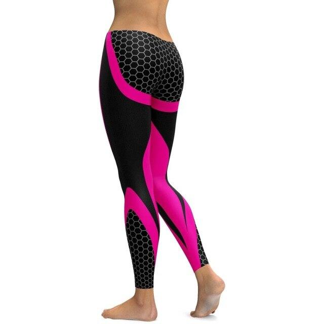 Liva girl Mesh Pattern Print Leggings fitness Leggings For Women Sporting Workout Leggins Elastic Slim Black White Pants
