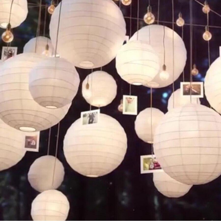 30 шт./лот смешивания Размеры (20 см, 30 см, 35 см, 40 см) белый Бумага китайские фонарики Бумага мяч лампион для Свадебная вечеринка украшение праздника