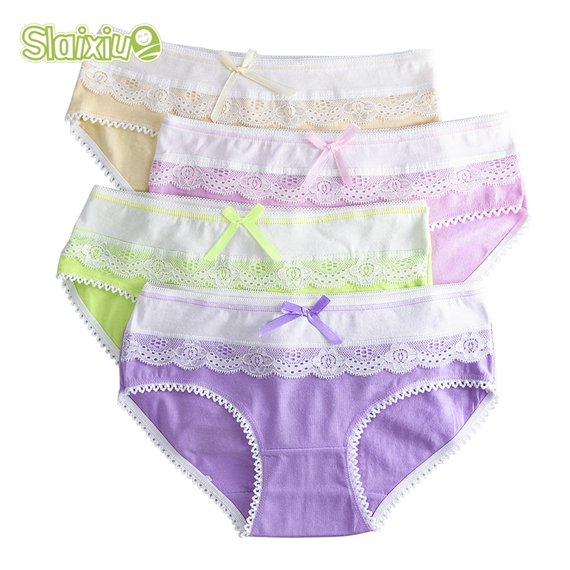 Briefs Underwear Pants Teenage Girls Short for Kids 9-20Y Lace Floral 4-Pack Candy-Colors title=
