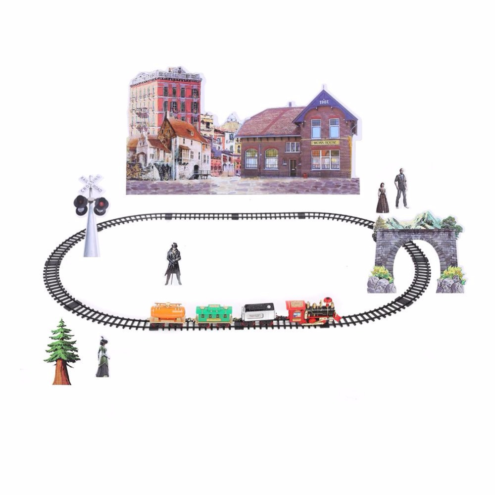 2018 Hot Sale RC Train Model Toys Remote Control Conveyance Train Electric Steam Smoke RC Train