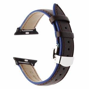Image 3 - צרפת אמיתי עור רצועת השעון עבור iWatch אפל שעון 38mm 40mm 42mm 44mm סדרת 5 4 3 2 כפול צבע להקת פרפר אבזם רצועה