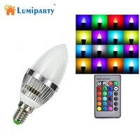 LumiParty E14 3 w RGB LED Candle-como a Forma de Luz Lâmpada Sem Fio IR Controle Remoto 16 Cores Mudando Ajustável Lâmpada do bulbo